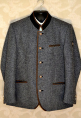 Grey tweed jacket with contrast collar and binding in medium brown suede.