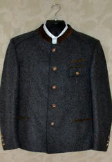 Grey washed wool jacket with full back pleat, back half belt, brown suede contrast binding and horn buttons.