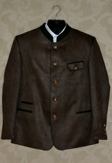 Men's traditional trachten jacket in medium-brown polyester faux suede.  Green trim and piping and horn buttons.  Fully lined.