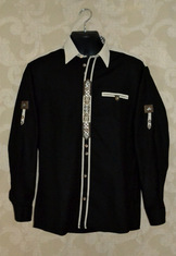 Men's Trachten Shirt Black with Check Accent
