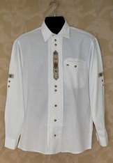 Men's Trachten Shirt White with Contrast Trim & Metal Accents