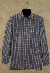 Men's Fine Cotton Navy/Brown Plaid Shirt