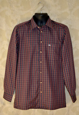 High thread count cotton casual shirt in navy/burgundy small scale plaid.