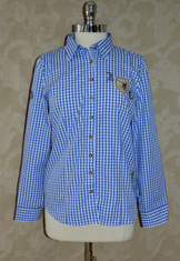 Ladies Casual Blouse Blue Check