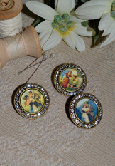 Vintage Inspired Buttons with Rhinestones - Single