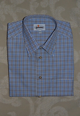 Men's Fine Blue Plaid Casual Shirt