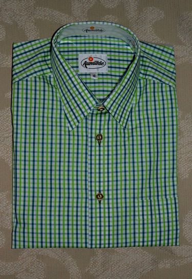 Men's Casual Shirt Blue and Green Open Check