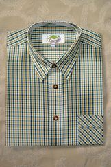 Men's Casual Shirt Dark Green and Mustard Check   SALE