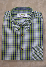 Men's Casual Shirt Navy and Lime Open Check  SALE
