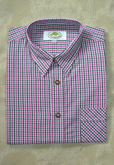 Men's Casual Shirt Dark Green and Fuchsia Open Check