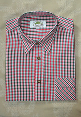 Men's Casual Shirt Red and Green Open Check
