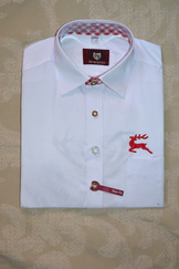 Men's Trachten Shirt White with Red Graphics
