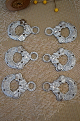 Dirndl Hooks Silver Whitewash Set of Eight