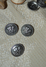 Button Pewter Edelweiss  - 1 piece