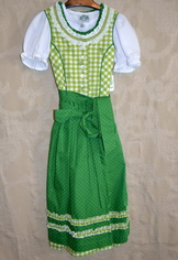 Girls' Dirndl Lime Green Check