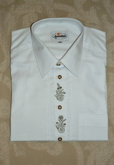 Men's Trachten Shirt White with Green Embroidery