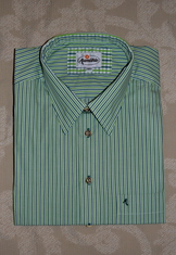Men's Casual Shirt Blue Green Narrow Stripe
