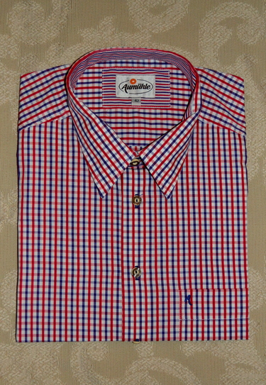 Men's Casual Shirt Blue Red White Plaid