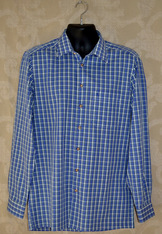 COPY OF Men's Fine Cotton Royal/White Plaid Shirt