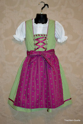 Girls' Dirndl Green & Magenta