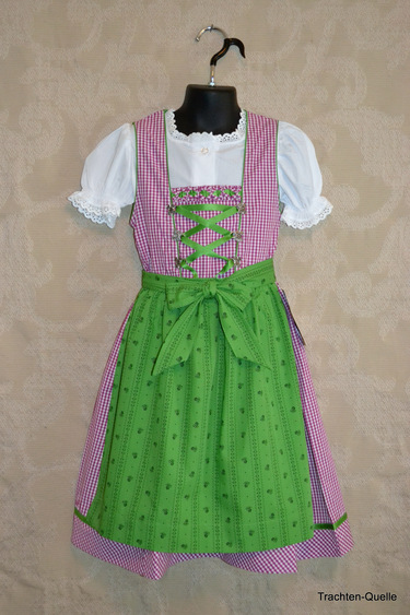 Girls' Dirndl Magenta & Green