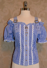 SALE Off-Shoulder Gingham Blouse Navy or Medium Blue