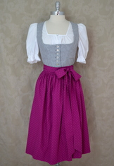 Dirndl Schliersee Grey and Magenta Size 10, 14, 16