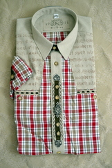 Men's Trachten Shirt Red Plaid with Metal Trims
