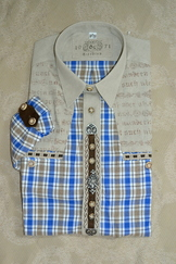 Men's Trachten Shirt Blue Plaid with Metal Trim