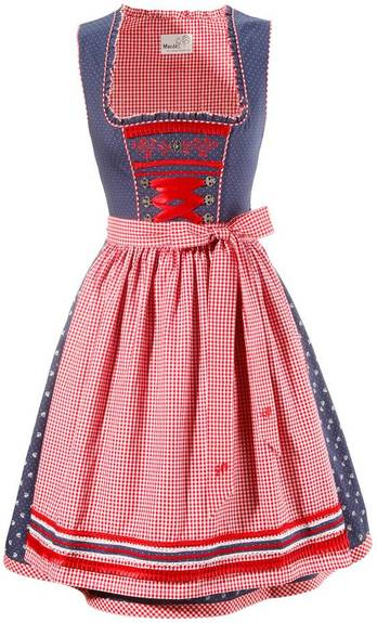 Dirndl Melitta Mini Denim Blue & Red
