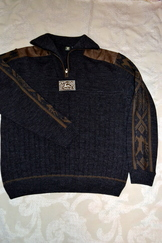 Men's Sweater Grey with Brown Contrast
