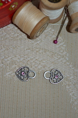 Dirndl Hooks Small Heart with Pink Rhinestone