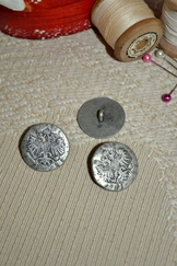 Six Small Rustic Metal Buttons Eagles