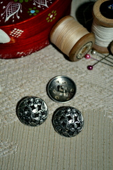 Six Large Metal Button Floral Weave