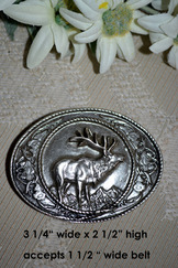 Belt Buckle Oval with Elk