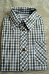 Boy's Plaid Trachten Shirt Tan Green Plaid