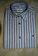 Boy's Striped Trachten Shirt Brown with Blue