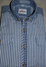 Boy's Blue Chambray Strip Shirt with Contrast