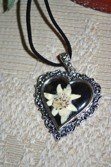 Small Heart Pendant with Edelweiss