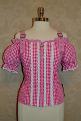SALE Off-Shoulder Gingham Blouse Fuchsia, Red, or Green