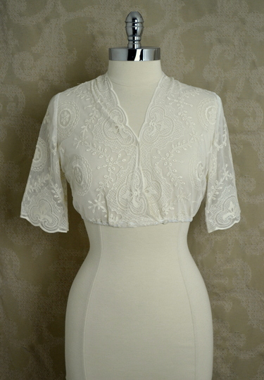 Dirndl Blouse V-Neck Ivory Lace