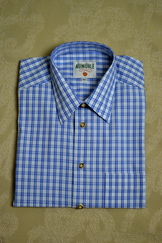 Men's Casual Shirt Textured Blue Plaid