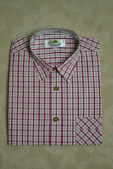 Men's Trachten Shirt Red Tan Check