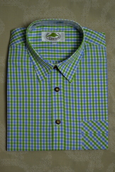 Men's Trachten Shirt Blue Green Check