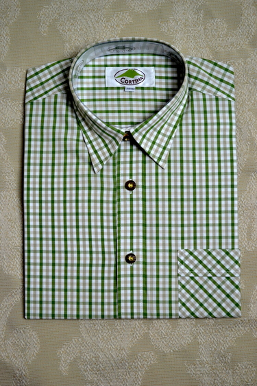 Men's Trachten Shirt Olive Tan Check