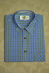 Men's Trachten Shirt Dark Green Blue Check