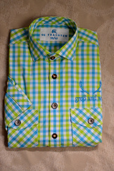 Men's Trachten Shirt Turquoise Lime Plaid