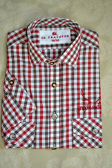 Men's Trachten Shirt Red Brown Plaid
