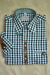 Men's Trachten Shirt Forest Green Black Check