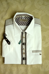 Men's Trachten Shirt White with Metal Decorations